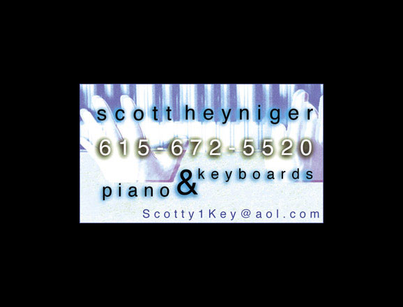 Business Card for local pianist Scott Heyniger