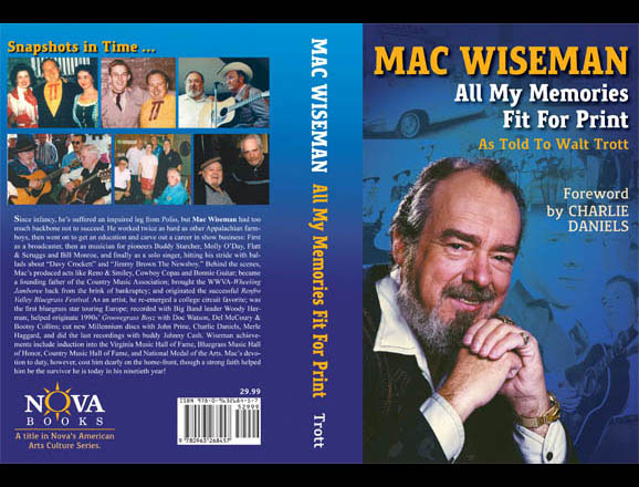 Cover of Mac Wiseman's memoires, published by Nova Books